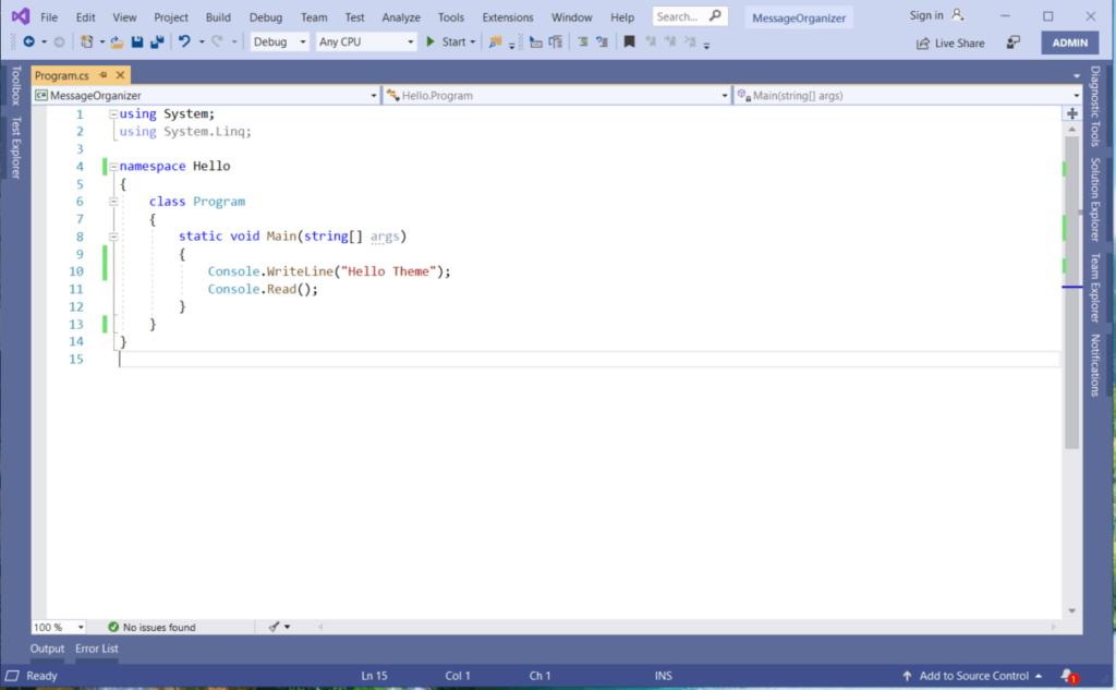 Visual Studio 2019 Themes,  Visual Studio 2019 Blue Theme