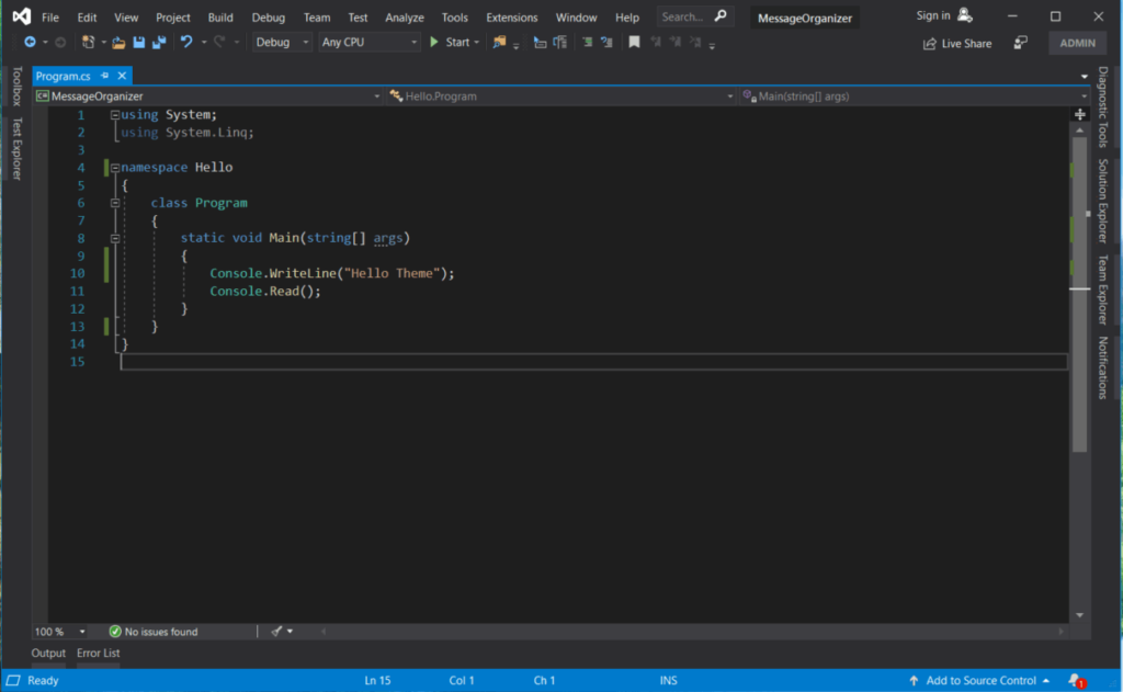 Visual Studio 2019 Themes,  Visual Studio 2019 Dark Color Theme