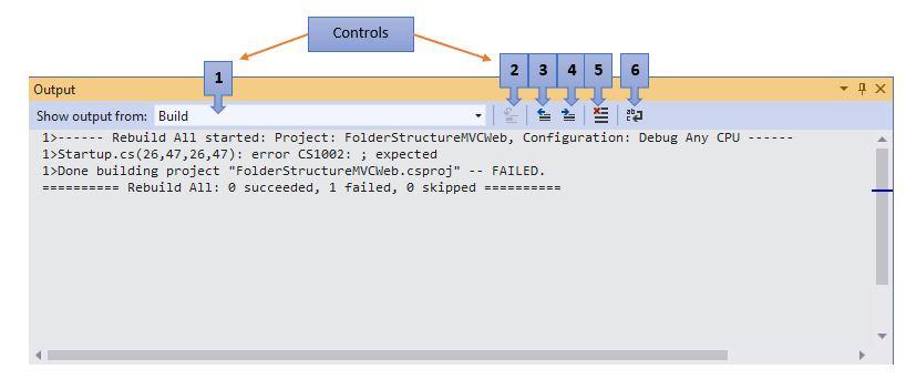 Visual Studio Output Window