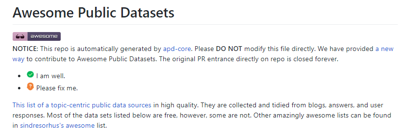 Datasets for Machine : Github Aswesome Public datasets