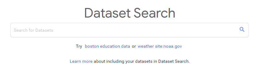 Datasets for Machine : Google dataset search