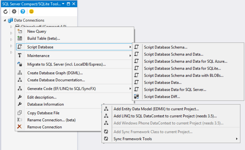 Visual Studio 2019 extension - SQLite/SQL Server Compact Toolbox