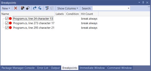 Visual Studio 2019 Shortcuts - Breakpoint Window