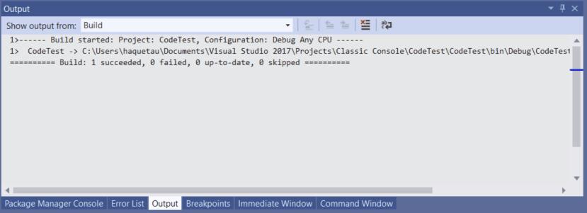 Visual Studio 2019 Shortcuts - Build Output