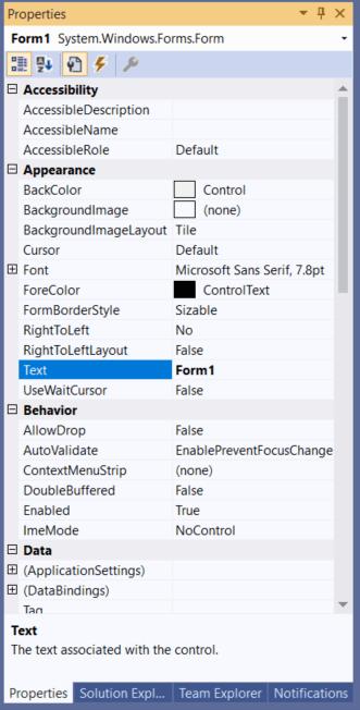 Visual Studio 2019 Shortcuts - Property Window