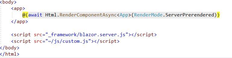 Calling Javascript in Blazor Application _HOST.cshtml