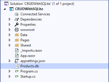 CRUD in Blazor using SQLite with EntityFrameworkCore