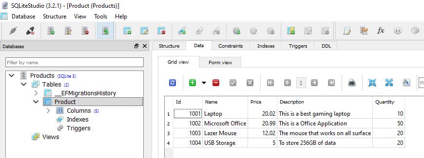 CRUD in Blazor using SQLite with EntityFrameworkCore
