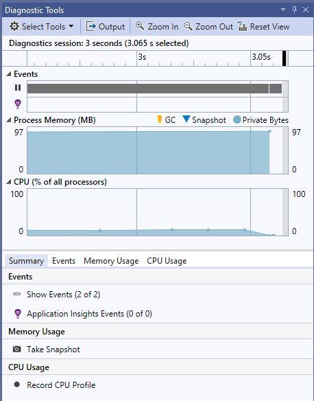 Visual Studio 2019 Community Diagnostic Tools