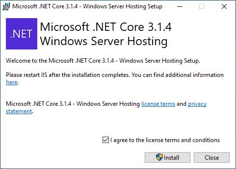 Publish a Blazor Server Application to IIS - Install Hosting Bundle