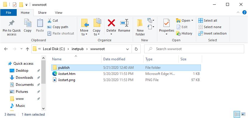 Publish a Blazor Server Application to IIS - Copy Artifacts to web root folder