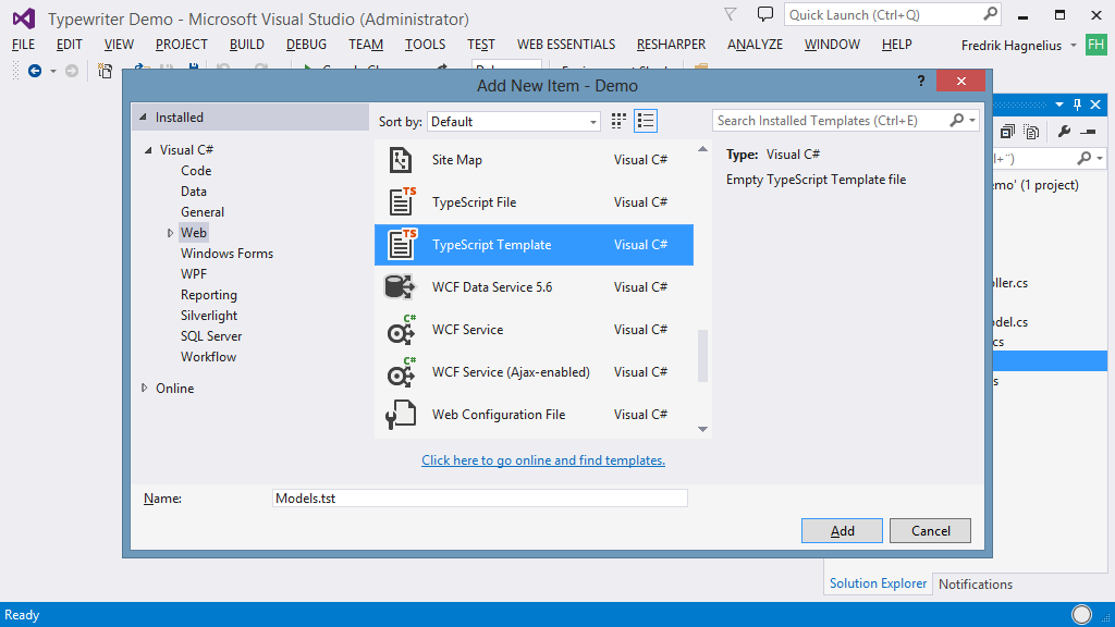Visual Studio 2019 extensions for Web Projects - Typewriter
