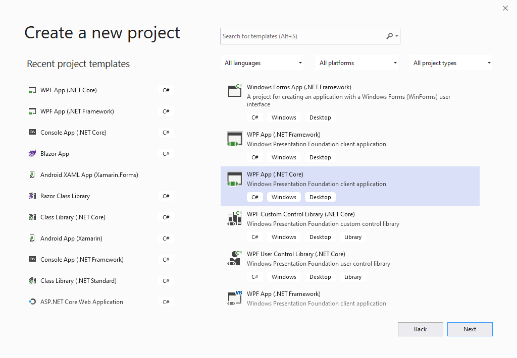 Dependency Injection in WPF select project template